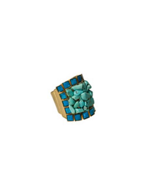 Sorrelli AZTEC- Large Turquoise Cluster Cuff Ring~ 4RH1BGAZT