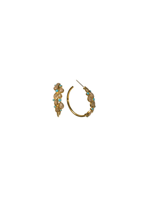 Sorrelli AZTEC- Desert Jasper and Turquoise Hoop Earrings~ 4EH9BGAZT