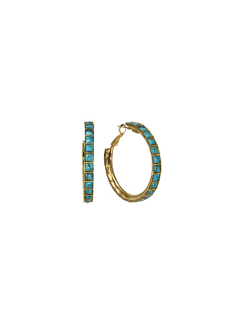 Sorrelli AZTEC- Square Turquoise Hoop Earrings~ 4EH5BGAZT