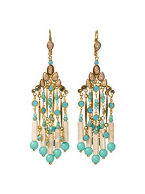 Sorrelli AZTEC- Desert Jasper and Turquoise Beaded Fringe Earrings~ 4EH15BGAZT