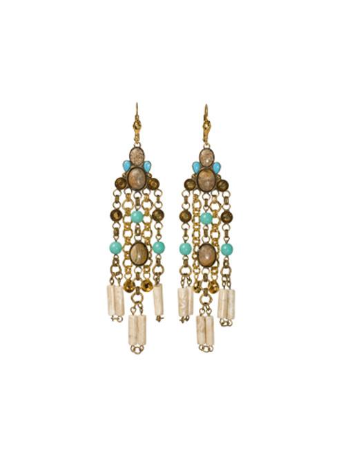 Sorrelli AZTEC- Desert Jasper and Turquoise Beaded Earrings~ 4EH12MXAZT