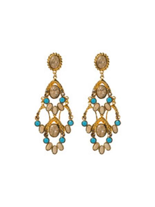 Sorrelli AZTEC- Desert Jasper and Turquoise Beaded Fringe Earrings~ 4EH11BGAZT