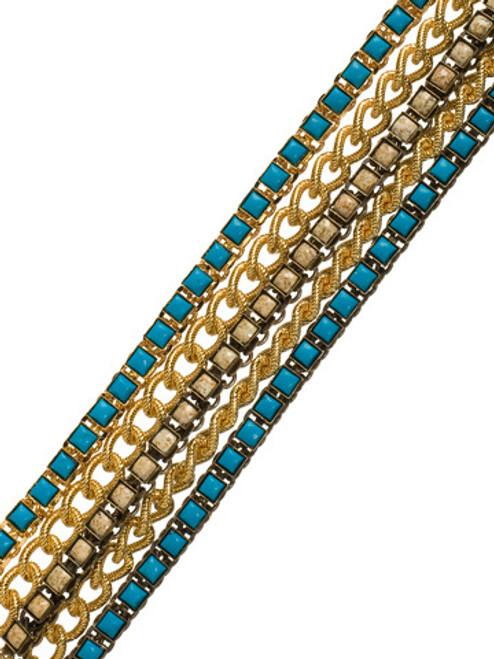 Sorrelli AZTEC- Layered Square Desert Jasper and Turquoise Link Bracelet~ 4BH22MXAZT