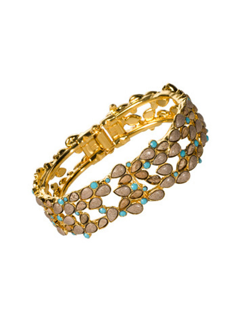 Sorrelli AZTEC- Desert Jasper and Turquoise Peek-A-Boo Cuff Bracelet~ 4BH10BGAZT