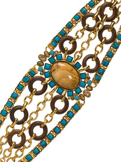 Sorrelli AZTEC- Multi-Strand Desert Jasper and Turquoise Square Bracelet~ 4BH11BGAZT