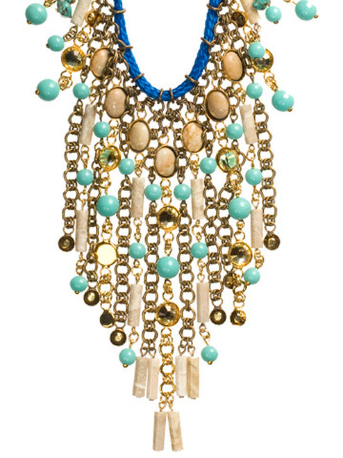 Sorrelli Aztec- Desert Jasper and Turquoise Beaded Bib Necklace~ 4NH15MXAZT