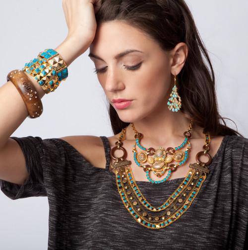 **Made To Order** Sorrelli AZTEC- Turquoise and Desert Jasper Bib Necklace~  4NH11BGAZT