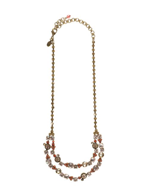 Sorrelli Andalusia- Double Strand Crystal Confetti Bib Necklace~ NCJ11AGAND