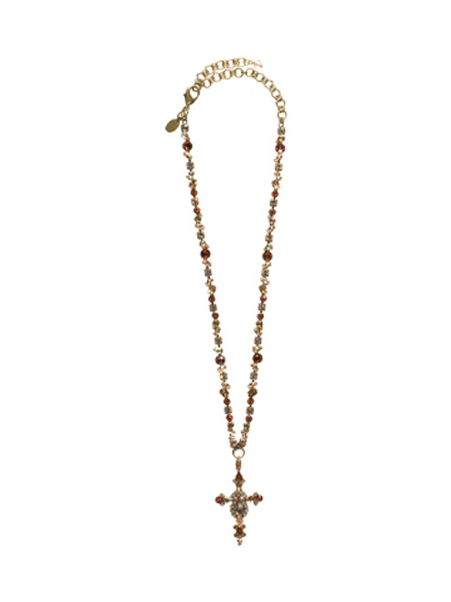 SORRELLI ANDALUSIA- BOLD CRYSTAL CROSS NECKLACE~ NBN22AGAND