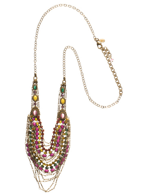 Sorrelli Hibiscus-Loads of Layers Bib Necklace~ NCL8AGHIB