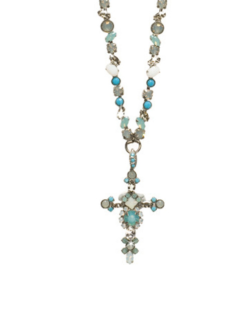 SORRELLI AEGEAN SEA- BOLD CRYSTAL CROSS NECKLACE~ NBN22ASAES
