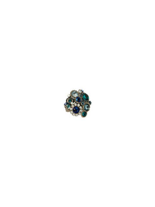 Sorrelli Electric Blue-Out of This World Cluster Cocktail Ring~ RCE2ASEB