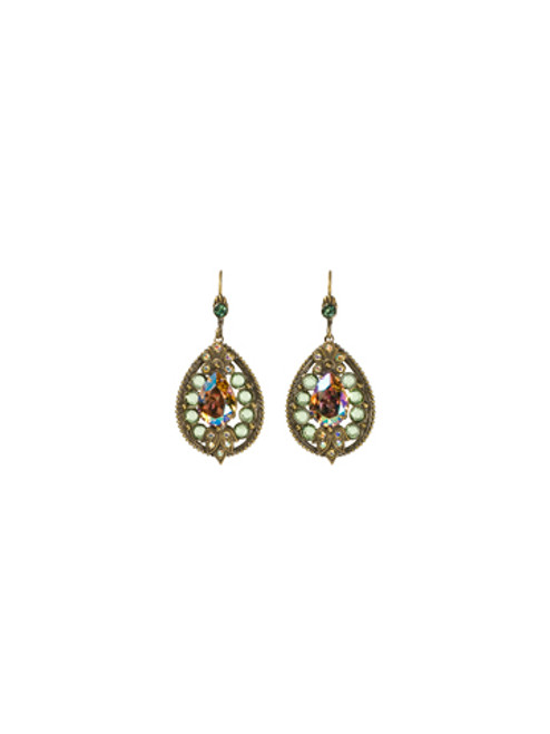Sorrelli- Water Lily- Crystal Studded Teardrop Earrings~ ECJ38AGWL