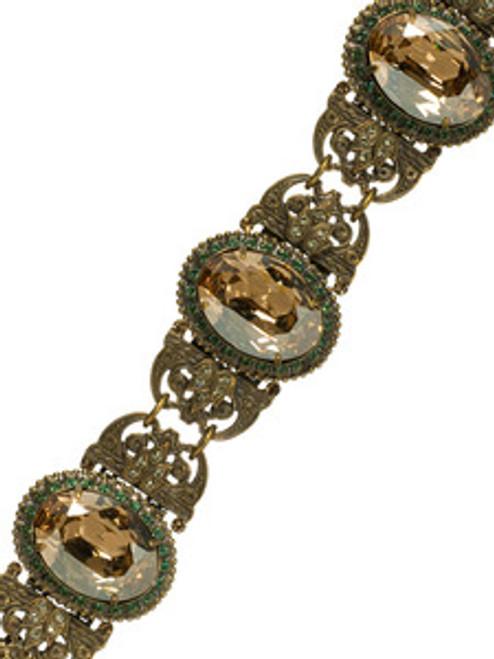 Sorrelli Water Lily - Art Deco Oval Stone Linked Bracelet~ BCJ4AGWL