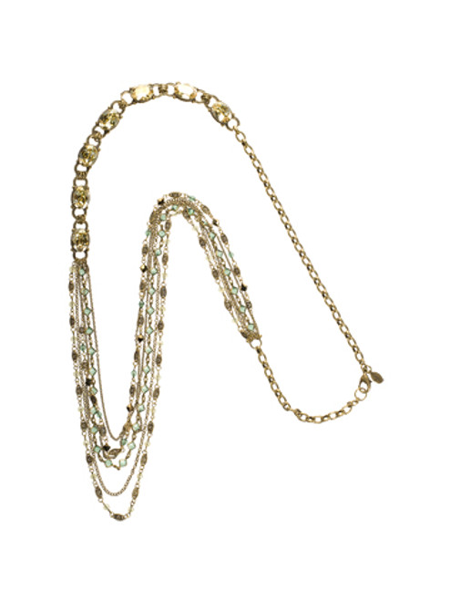 Sorrelli Water Lily- Layered Long Strand and Crystal Necklace- NCG11AGWL