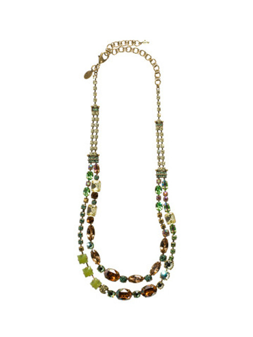 Full View Sorrelli Water Lily- Double Strand Crystal Necklace ~NCC1AGWL