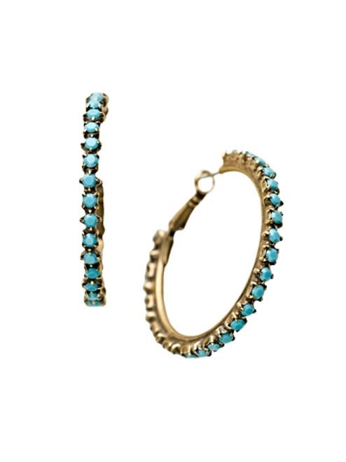 Sorrelli Azure Allure- Large Round Cut Crystal Hoop Earrings~ ECR39AGAZ