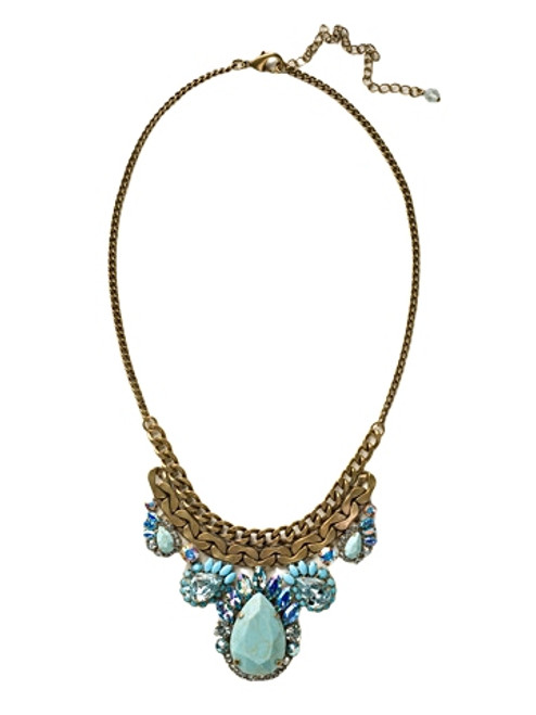 Sorrelli Azure Allure Curb Chain and Graduated Pear Bib Necklace~ NCU17AGAZ