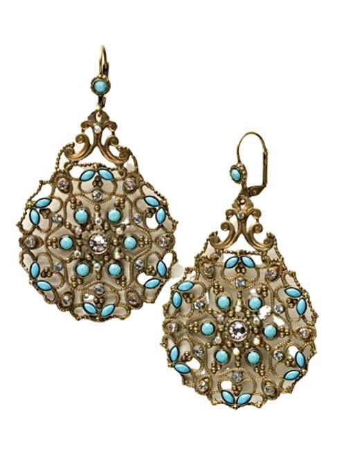 Sorrelli Azure Allure- Crystal Encrusted Filigree Statement Earrings~ ECR105AGAZ