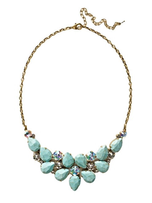 Sorrelli Azure Allure-Dare to Pear Crystal Statement Necklace~ NCP3AGAZ