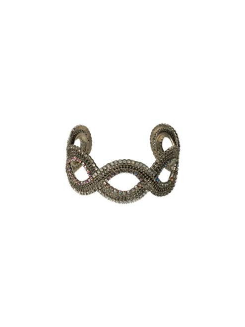 Sorrelli White Bridal Swirling Infinity Cuff Crystal Bracelet BBZ46ASWBR