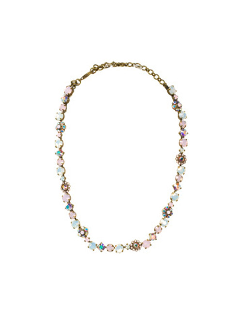 SORRELLI- PRETTY IN PINK CLASSIC FLORAL TENNIS NECKLACE- NBE2AGPNP