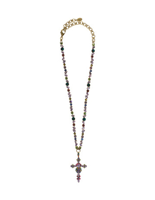 Sorrelli Harmony- Bold Crystal Cross Necklace~ NBN22AGHAR