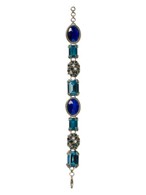 Sorrelli Electric Blue -Bold Emerald and Oval Cut Crystal Bracelet~ BCF1ASEB