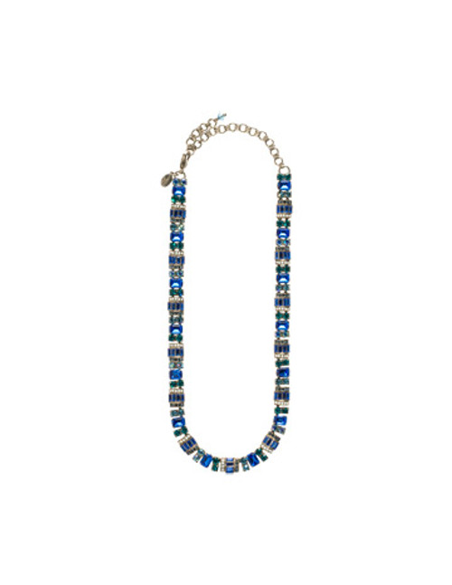 Sorrelli Electric Blue-Detailed Baguette and Octagon Crystal Line Necklace~ NBZ44ASEB