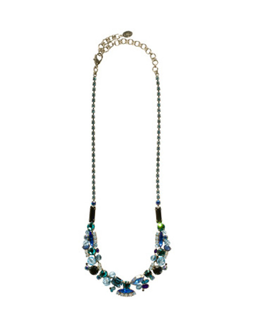 Sorrelli Electric Blue-Glam Crystal Cluster Necklace~ NCE1ASEB