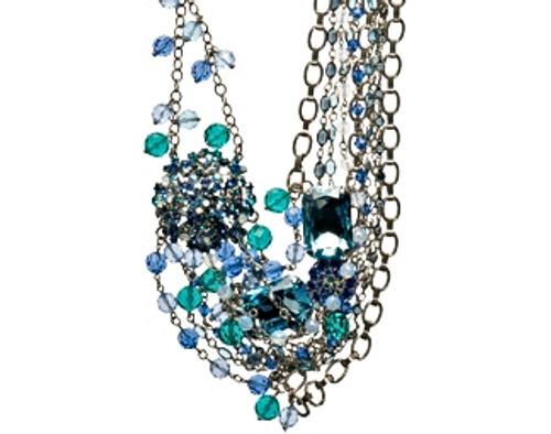 Sorrelli Electric Blue Swarovski Bold Floral & Crystal Bib Necklace -NCG17ASEB