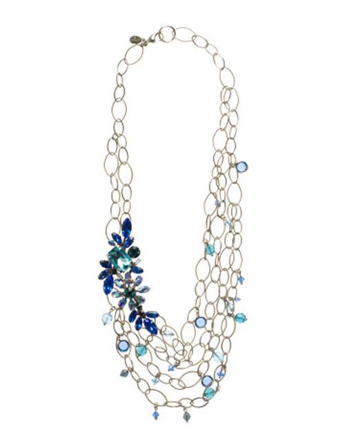 Sorrelli Electric Blue- Layered Floral Bib Necklace~ NCG24ASEB
