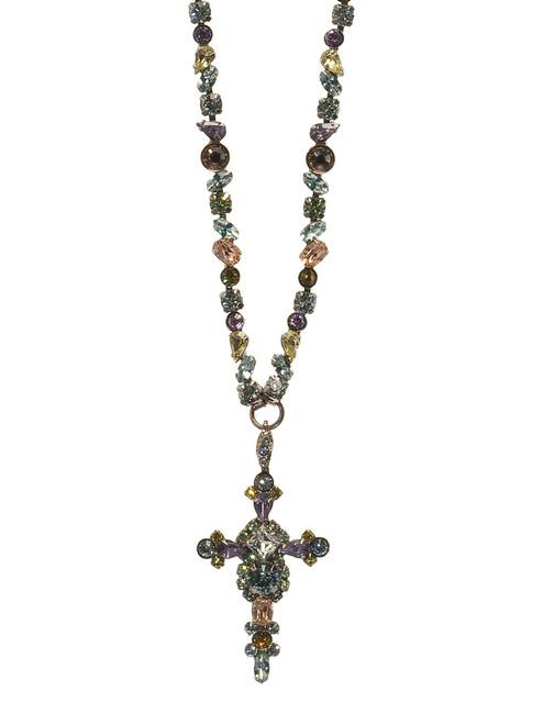 Sorrelli Running Water- Bold Crystal Cross Necklace~ NBN22ASRW