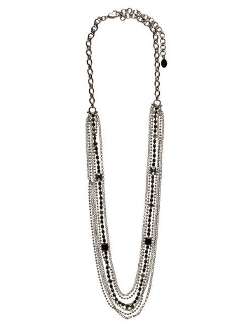 Sorrelli Midnight Moon- Elegant Multi-Strand Crystal and Chain Necklace~ NCF3GMMMO