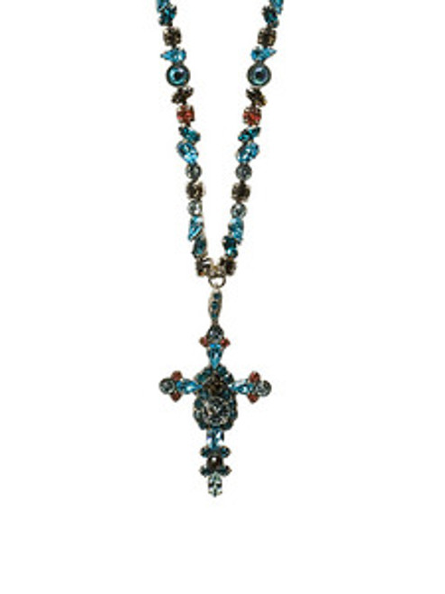 Sorrelli Sea Salt- Bold Crystal Cross Necklace ~ NBN22ASSES