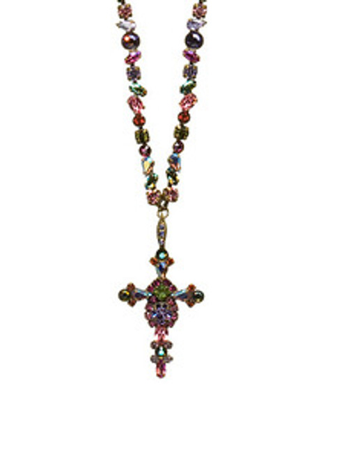 Sorrelli Coneflower- Bold Crystal Cross Necklace ~ NBN22AGCF