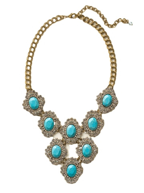Sorrelli Azure Allure- Tiered Oval Encrusted Crystal Statement Necklace~ NCU28AGAZ