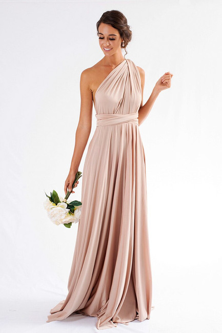 Luxe Satin Ballgown Multiway Infinity Dress in Light Gold