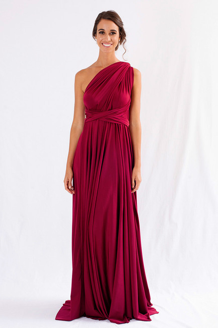Luxe Satin Ballgown Multiway Infinity Dress in Burgundy