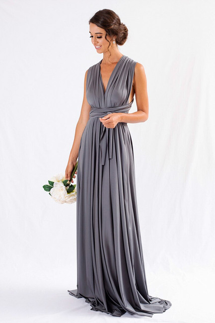 Satin Ballgown Infinity Dress in Charcoal