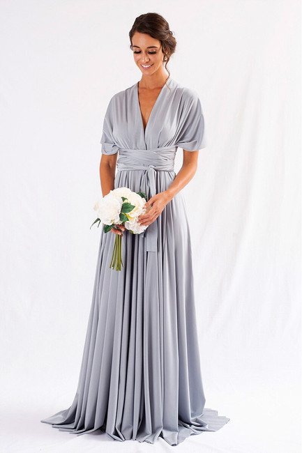 Luxe Satin Ballgown Multiway Infinity Dress in Silver