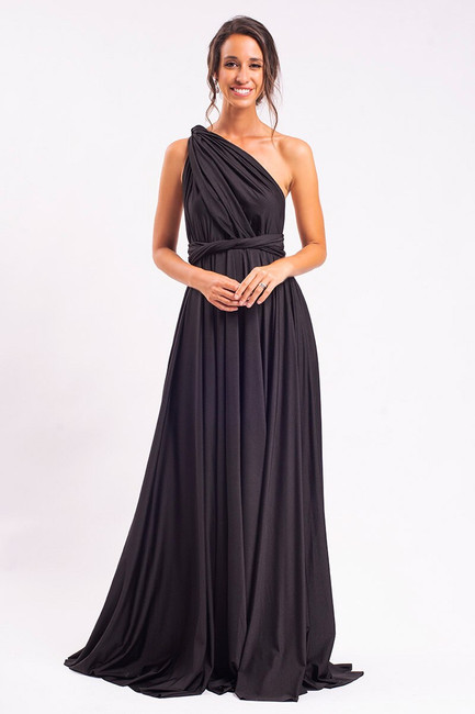 Luxe Satin Ballgown Multiway Infinity Dress in Black