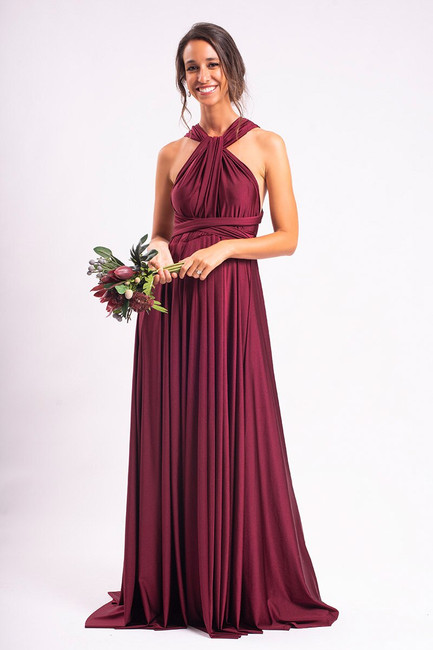 Luxe Satin Ballgown Multiway Infinity Dress in Mulberry