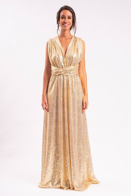 Sequins Multiway Infinity Dress in Gold