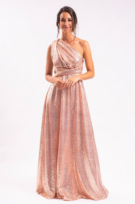 Sequins Multiway Infinity Dress in Rose Gold