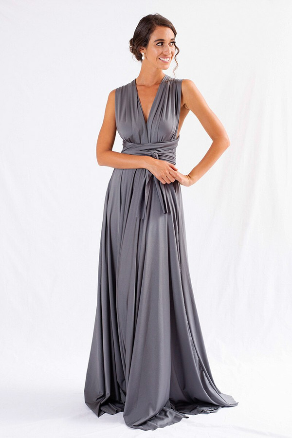 Luxe Satin Ballgown Multiway Infinity Dress in Charcoal