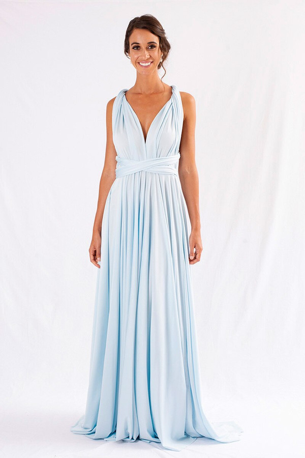 Luxe Satin Ballgown Multiway Infinity Dress in Pastel Blue