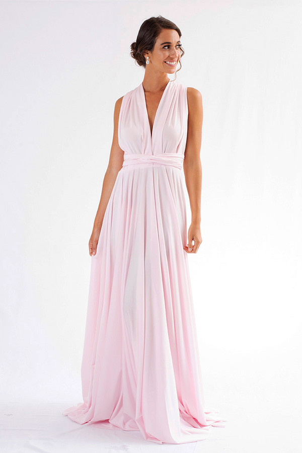 Luxe Satin Ballgown Multiway Infinity Dress in Pastel Pink