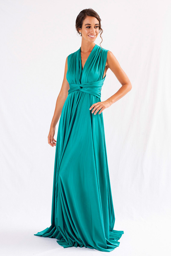 Luxe Satin Ballgown Multiway Infinity Dress in Teal