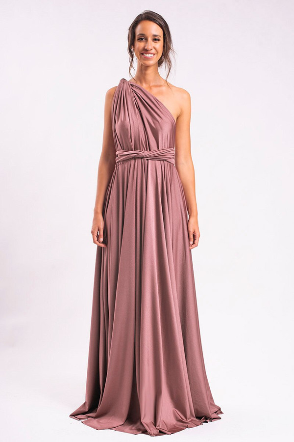 Luxe Satin Ballgown Multiway Infinity Dress in Dusty Mauve